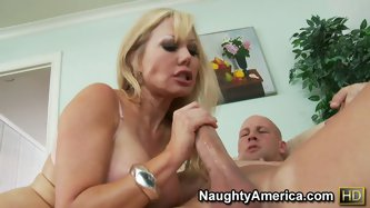 Blonde whore Cindi Sinderson is banged from behind. The nasty bitch rides on cock and squirts a lot. Then she gives deepthroat blowjob.