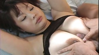 Fat and trashy Jap slut Sakura Tawamine gets facefucked after titfucking. She has nice pair of boobies by the way! Then she rides that guy on top.
