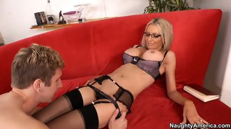 Emma Starr  start can hardly cope with irresistible desire to feel his tongue sliding up and down her pussy. She is charming blonde and deserves such