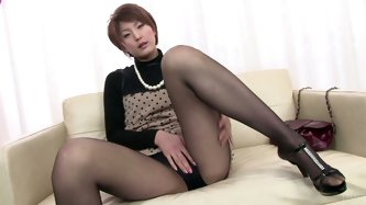 Extremely voracious chick from Japan pulls up her skirt and stretches legs wide. This short haired redhead desires to gain some delight. Spoiled chick