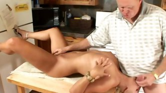 Beautiful and slutty Chloe Chanel is horny for mature guys! This lucky mature dude gets to feed her in the kitchen. She greedily sucks his dick and ge