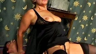 Spoiled grey-haired granny sucks her fingers while getting fucked hard in cowgirl style by aroused wanker in All Porn Sites Pass sex video.