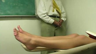 This naughty college chick with a pretty face and a seductive body is real deal slut. She explores her friend's cock with her toes.
