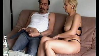 Voluptuous blonde bitch with saggy boobs blows her young lover's massive cock for a while and later gets her ass fucked balls deep.