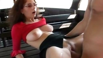 One busty torrid bitch in glasses deep throats hard dick of that man with passion and gets her sweet pussy licked by her whorish pal. Look at that dir