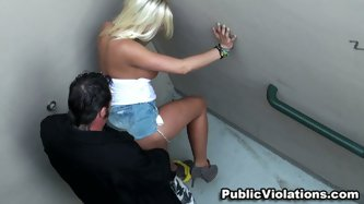 Britney Amber doing another public fuck which turns her on. She get on her knees and sucks a dick to a stranger. Then she turns over and fucks from be