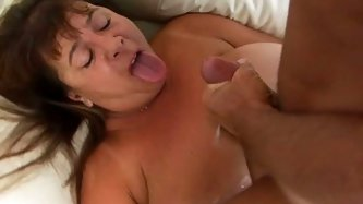 Voracious mature woman with fat round body gives stout blowjob and titjob before getting pounded doggy style. After hot doggy she is screwed missionar