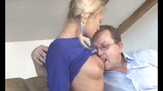 Well, it goes without saying this that this auburn chick thirsts for cum. Ardent chick flashes her sweet natural tits in front of nerdy fat dude and g