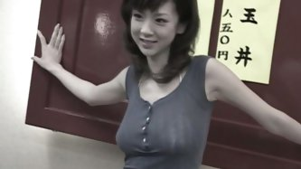 Dainty narrow eyed lady Aki Hoshino treats herself with tasty dinner at the local Chinese restaurant. Bitch flashes her tits and sits right on the tab