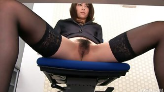 Skanky black haired Japanese secretary Maki Hojo takes telephone calls and strokes her hungry pussy at the same time. Then she stimulates her hairy pu
