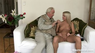 He is an old pervert. He is three time older than this chick. This bitch loves older guys. He caress her body all over and strips her. Then he gets be