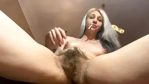 hairy girl with huge bush quick smoking video