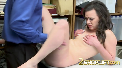 Petite teen is forced to suck officer's huge cock at the store office.