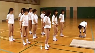 The best part of watching a gym class full of half-naked Asian teens with firm asses and hairy pussies is when they stretch, because they have to...