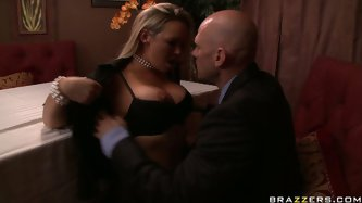 Hot blonde Abbey Brooks comes to restaurant with her lover. In the middle of the dinner horny girl goes down under the table and gives blowjob in fron