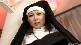 Dirty-minded and dick hungry Japanese nun Rika Sakurai desires to be pleased today. Slutty nympho with small cute tits forgets about restrictions and
