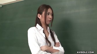 Damn, I wish I could visit Japanese college, if all the teachers are so hot there. Slim brunette with nice tits gets rid of skirt and blouse and shows