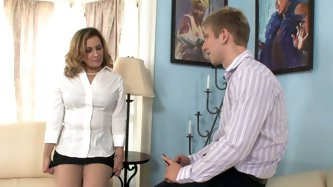 Blonde horny mom Danny Wylde seduces young guy and gets on her knees to give him blowjob. He is horny enough to lick her milf snatch as well.