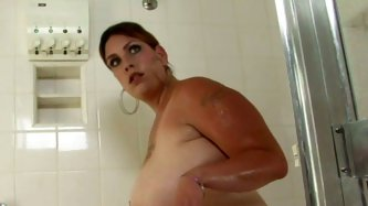 Kinky whooty soaps her booty showing it in closeup shot. Black dude pours oil onto her booty smearing it all over.  She then gives hot blowjob.