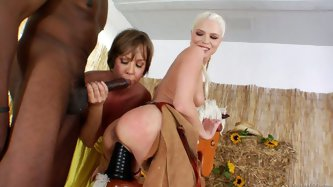 Two girls with hell working holes go here wild with one big real shlong and fake dildo. They ride this fucking devices and moan like crazy bitches.