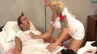 Blonde nurse with big tits and tattoos fucked by her patient