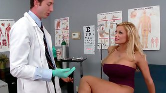 Horny doctors tells his patient to lie on the bed so he can check if everything is ok. He fingers her pussy tenderly and sensually. Then she makes him