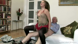 Bruit whore with big tits demonstrates all of her skill in group sex with old guy. She gets fingerfucked before giving a blowjob and cowgirl ride to t