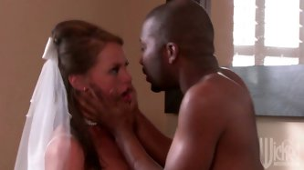 She will never be a faithful wife! Horny Tori Black blows dick of black man right before the wedding. She opens her legs for him and black dick enters