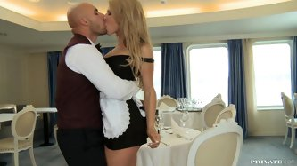 When he saw her in this sexy dress he got so horny and started kissing her passionately and put his dick in her mouth making it suck deeply and lick h