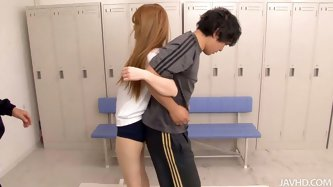 Asian cute chick has tight sexy body. She trains with two guys in the locker room but then she gets horny and start rubbing their dicks with her hands