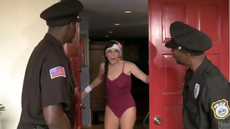 Horny cougar Alexandra Silk likes to work out with loud music on. Two policemen visit her for too much noise and she promises to keep the music down i