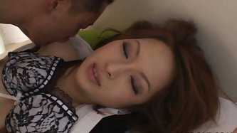 Salty Japanese babe in sultry lingerie gets her hairy pussy eaten by insatiable wanker. Later she gets on her knees to mouth fuck his oversized cock i