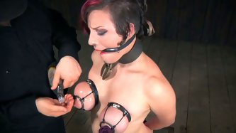 Bosomy harlot gets her pussy punished by horny master. Her squeezed boobs will satisfy all fans of hardcore bdsm sex clips.