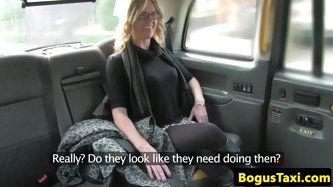 Glam milf with massive tits gagging on the taxi drivers cock before her messy facial