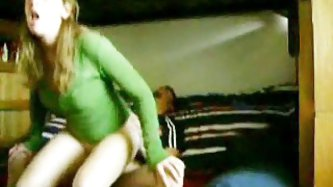 Amateur home made porn clip of a horny couple fucking on a bunk bed. Girlfriend hold onto the top frame as she rides him backwards and he sticks if in