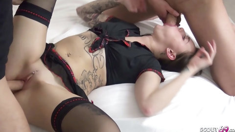 PETITE GERMAN TEEN IN SCHOOL UNIFORM GET FIRST THREESOME