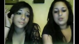 Two teens wit big tits flash the webcam on chatroulette