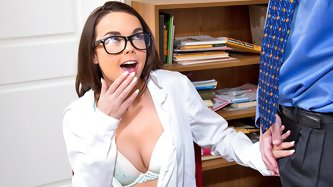 Dillion Harper's grades have been lagging so her professor asks her to stay after in order to get her work done.  He even offers to have her stud