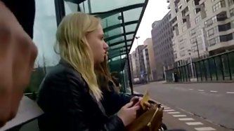 I love flashing my cock in front of women in public. In this voyeur sex tape, I whip out my cock at a public bus stop as two chicks are sitting playin