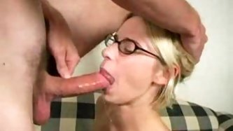 Skinny chick in glasses giving a hot blowjob - Blonde Porn