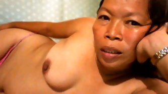 Filipina granny showing her precious love melons on livecam