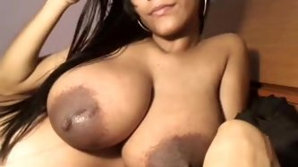 Watch me as I play with my amazing big juggs and rub oil all over my huge nipples on this private webcam sex show. I then start to shake by fat ass fo