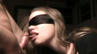 I wanted to make a surprise for my amateur wife, so I told her to take a blindfold and get down on her knees. My present, in this homemade fetish clip
