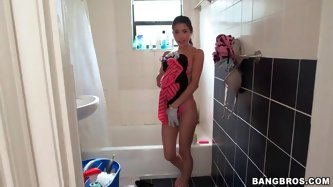 Spying on the petite maid in the bathroom - Latina Porn