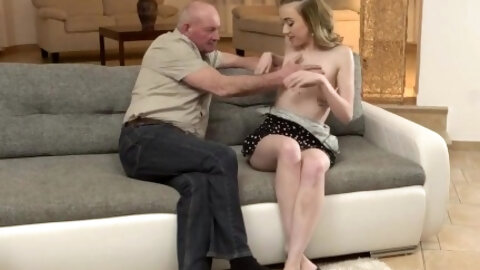 Daddy4k. Beautiful Skinny Dollface Has Sex With Old Man In Country House