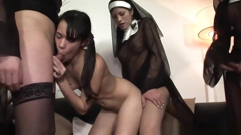 Petite girl Sucks And fucks 4 trannies!