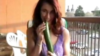 Hawt breasty aged experience mamma uses cucumber to satisfy.