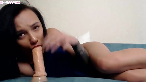 Littlewetgirl yogurt bukkake, fingers in throat, dildo in pussy, deepthroat