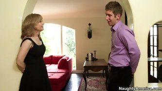 She is whorish blonde mom with seductive appeal. She seduces the young guy who later thrusts his dick in her horny for cock mouth.