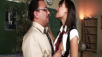 Horny teacher fucking his hot student in uniform